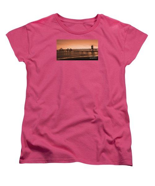 Huntington Beach Pier - Twilight Sepia Women's T-Shirt (Standard Cut) by Jim Carrell