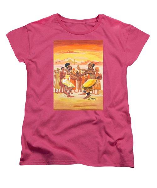 Women's T-Shirt (Standard Cut) featuring the painting Imbiyino Dance From Rwanda by Emmanuel Baliyanga