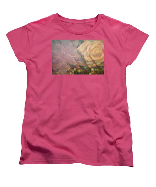 Women's T-Shirt (Standard Cut) featuring the photograph Impressionistic Pink Rose With Ribbon by Dora Sofia Caputo Photographic Art and Design
