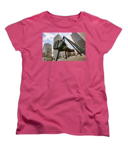 In Your Face -  Joe Louis Fist Statue - Detroit Michigan Women's T-Shirt (Standard Cut) by Gordon Dean II