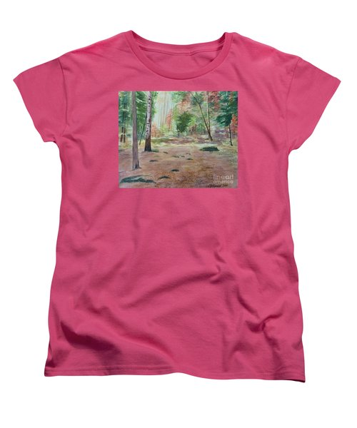 Women's T-Shirt (Standard Cut) featuring the painting Into The Forest by Martin Howard