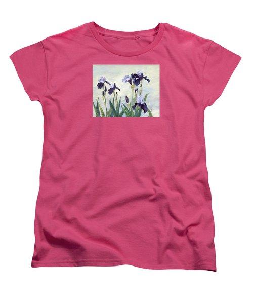 Irises Purple Flowers Painting Floral K. Joann Russell                                           Women's T-Shirt (Standard Cut) by Elizabeth Sawyer