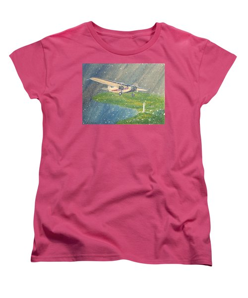 Island Airlines Ford Trimotor Over Put-in-bay In The Winter Women's T-Shirt (Standard Cut) by Frank Hunter