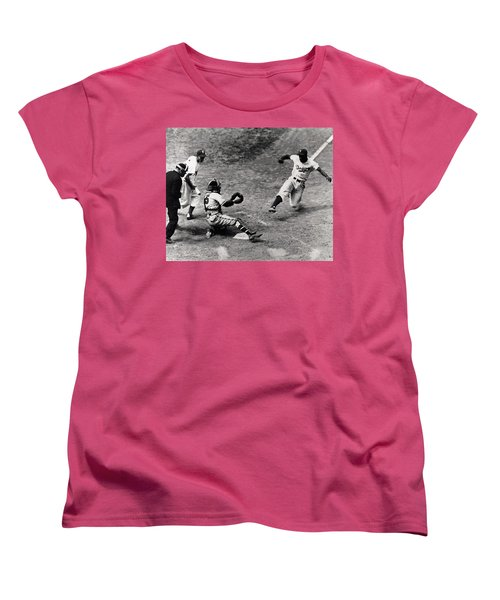 Jackie Robinson In Action Women's T-Shirt (Standard Cut) by Gianfranco Weiss