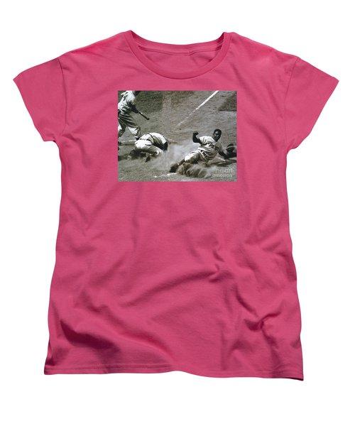 Jackie Robinson Sliding Home Women's T-Shirt (Standard Cut) by R Muirhead Art
