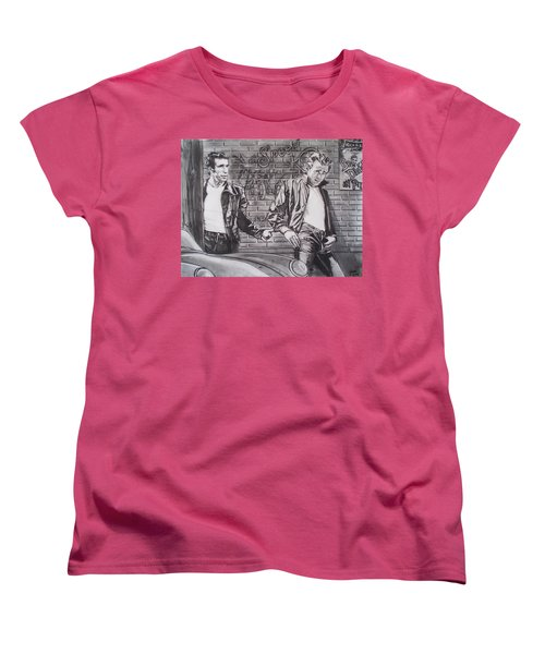 James Dean Meets The Fonz Women's T-Shirt (Standard Cut) by Sean Connolly