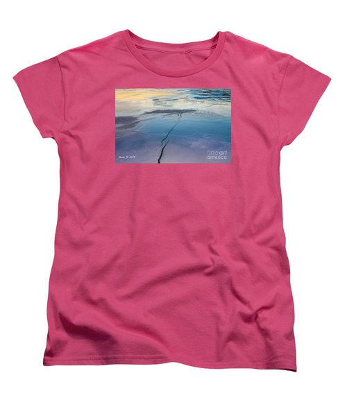 Women's T-Shirt (Standard Cut) featuring the photograph January Sunset On A Frozen Lake by Nina Silver