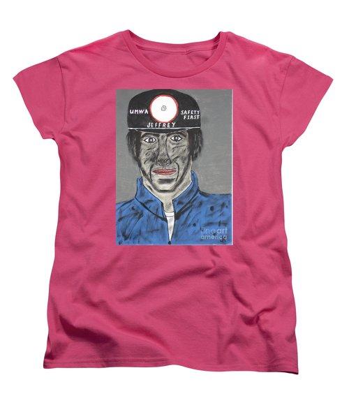 Women's T-Shirt (Standard Cut) featuring the painting Jeffrey The Coal Miner by Jeffrey Koss