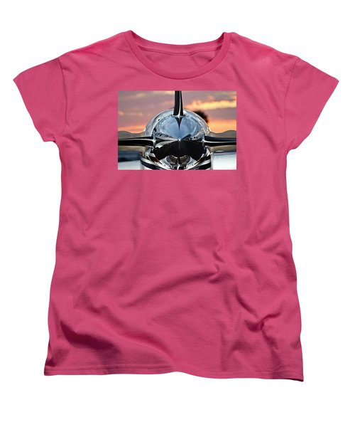 Airplane At Sunset Women's T-Shirt (Standard Cut)