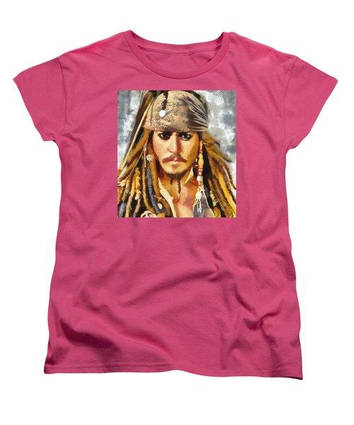 Johnny Depp Jack Sparrow Actor Women's T-Shirt (Standard Cut) by Georgi Dimitrov