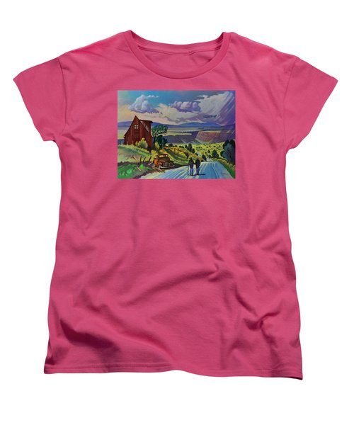 Women's T-Shirt (Standard Cut) featuring the painting Journey Along The Road To Infinity by Art James West
