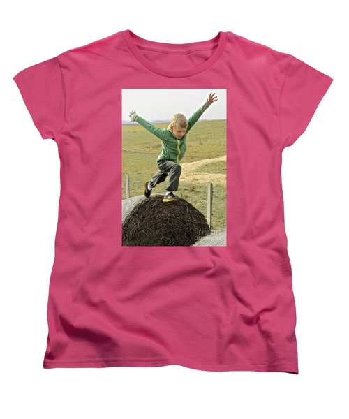 Jumping Haystacks Women's T-Shirt (Standard Cut) by Suzanne Oesterling