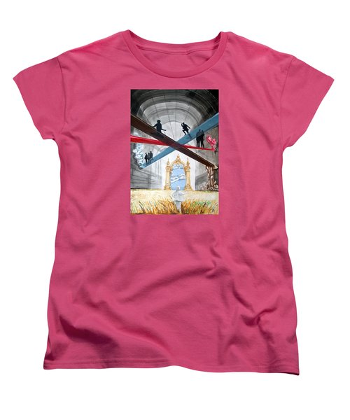 Women's T-Shirt (Standard Cut) featuring the painting Just Paths  by Lazaro Hurtado