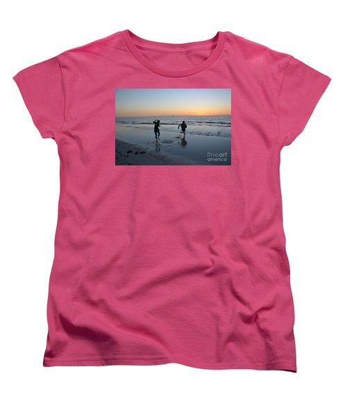 Women's T-Shirt (Standard Cut) featuring the photograph Kids At The Beach by Robert Meanor