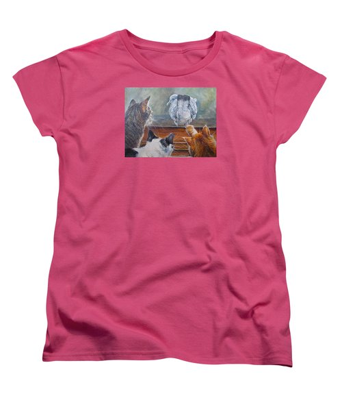 Women's T-Shirt (Standard Cut) featuring the painting Kiss My Assssssss by Donna Tucker