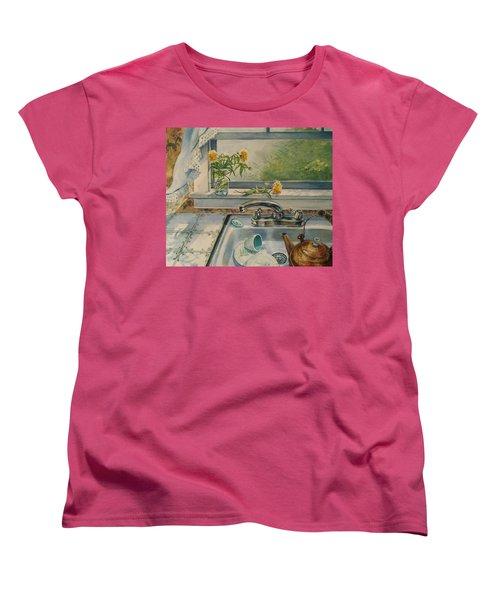 Women's T-Shirt (Standard Cut) featuring the painting Kitchen Sink by Joy Nichols