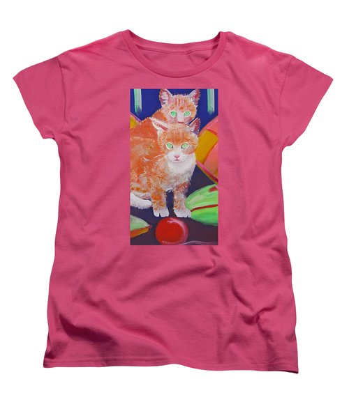 kittens With A Ball of Wool Women's T-Shirt (Standard Cut) by Charles Stuart