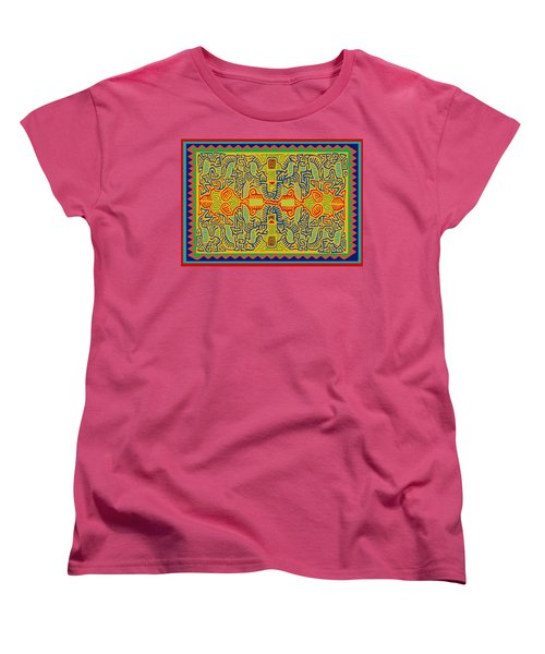 Women's T-Shirt (Standard Cut) featuring the digital art Kuna Bird Spirits by Vagabond Folk Art - Virginia Vivier
