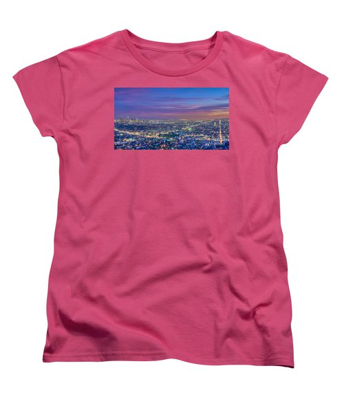 La Fiery Sunset Cityscape Skyline Women's T-Shirt (Standard Cut) by David Zanzinger