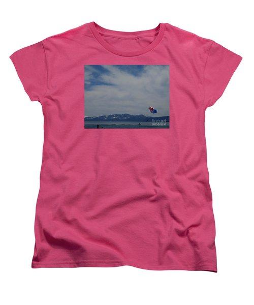 Women's T-Shirt (Standard Cut) featuring the photograph Parasail Landing by Bobbee Rickard