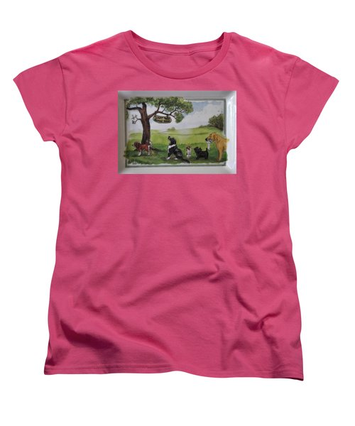 Last Tree Dogs Waiting In Line Women's T-Shirt (Standard Cut) by Jay Milo