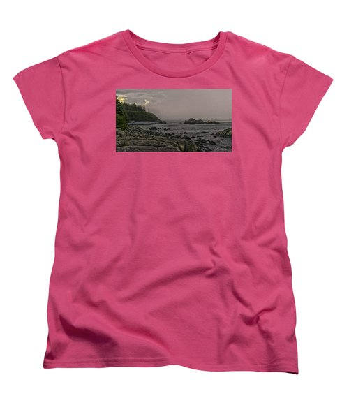 Women's T-Shirt (Standard Cut) featuring the photograph Late Afternoon Sun On West Quoddy Head Lighthouse by Marty Saccone