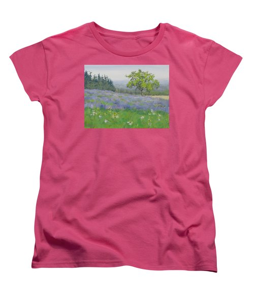 Women's T-Shirt (Standard Cut) featuring the painting Lavender Afternoon by Karen Ilari
