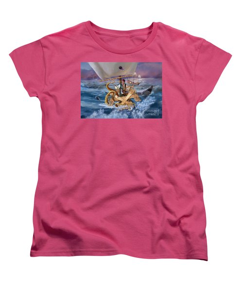 Women's T-Shirt (Standard Cut) featuring the painting Legendary Pirate by Rob Corsetti