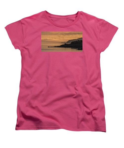 Women's T-Shirt (Standard Cut) featuring the photograph Lifting Fog At Sunrise On Campobello Coastline by Marty Saccone