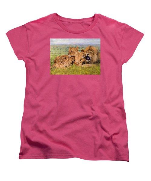Lion Family Women's T-Shirt (Standard Cut) by David Stribbling