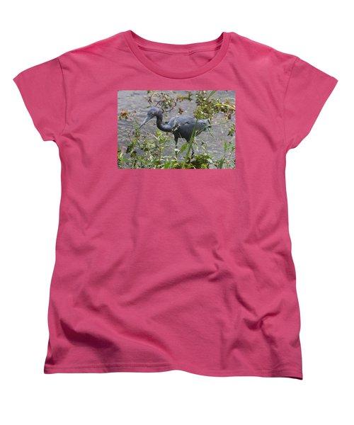 Little Blue Heron - Waiting For Prey Women's T-Shirt (Standard Cut) by Christiane Schulze Art And Photography
