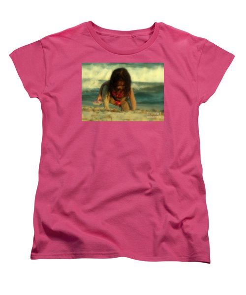 Women's T-Shirt (Standard Cut) featuring the photograph Little Girl At The Beach by Lydia Holly