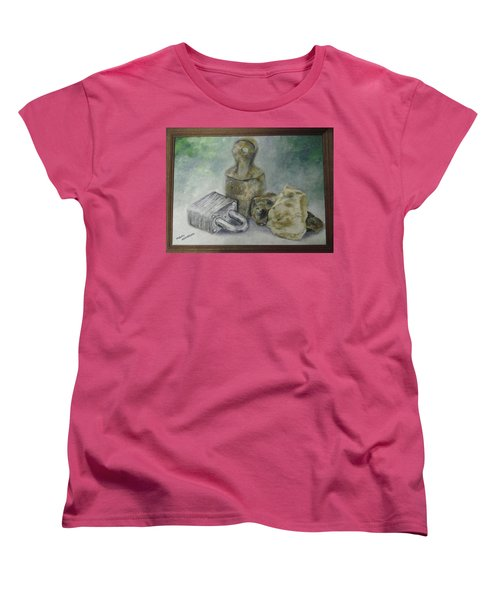 Women's T-Shirt (Standard Cut) featuring the painting Locked And Anchored by Mary Ellen Anderson