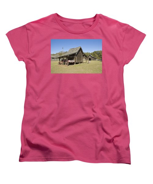 Women's T-Shirt (Standard Cut) featuring the photograph Log Cabin And Barn by Charles Beeler