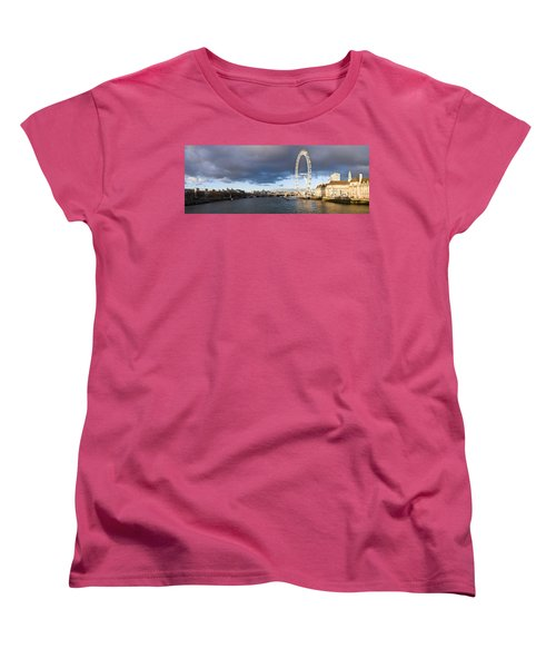 London Eye At South Bank, Thames River Women's T-Shirt (Standard Cut) by Panoramic Images