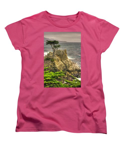 Lone Cypress On The Monterey Peninsula - No. 1 Looking Across Carmel Bay Spring Mid-afternoon Women's T-Shirt (Standard Cut) by Michael Mazaika
