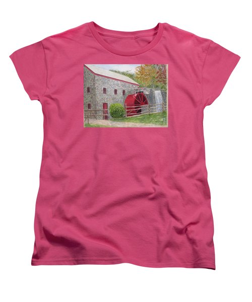 Women's T-Shirt (Standard Cut) featuring the painting Longfellow's Gristmill by Carol Flagg