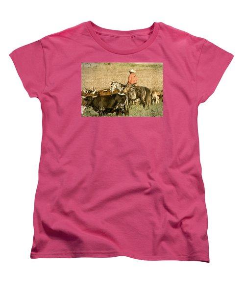 Women's T-Shirt (Standard Cut) featuring the photograph Longhorn Round Up by Steven Bateson