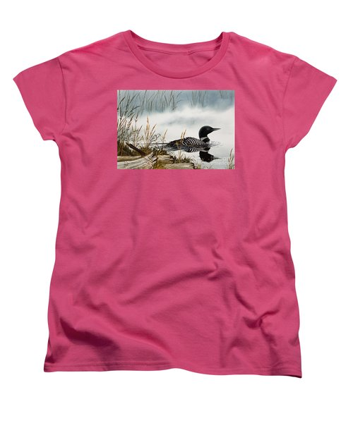 Loons Misty Shore Women's T-Shirt (Standard Cut) by James Williamson