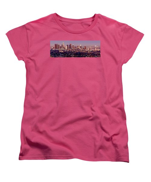 Los Angeles Skyline At Dusk Women's T-Shirt (Standard Cut) by Jon Holiday