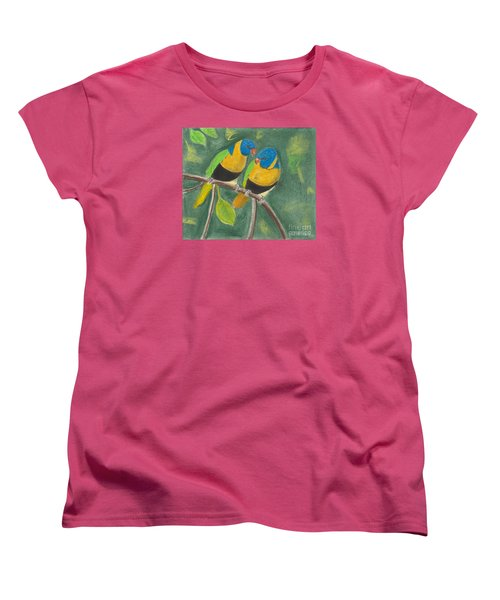 Women's T-Shirt (Standard Cut) featuring the pastel Love Birds by David Jackson