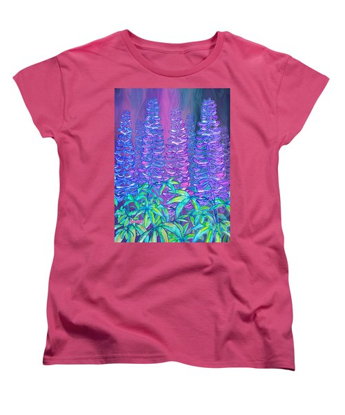 Women's T-Shirt (Standard Cut) featuring the mixed media Lupines by Teresa Ascone