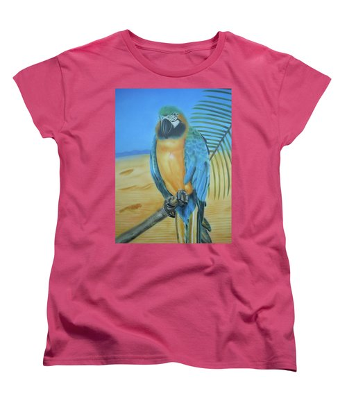 Women's T-Shirt (Standard Cut) featuring the painting Macaw On A Limb by Thomas J Herring