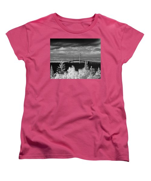 Macinac Bridge - Infrared Women's T-Shirt (Standard Cut) by Larry Carr
