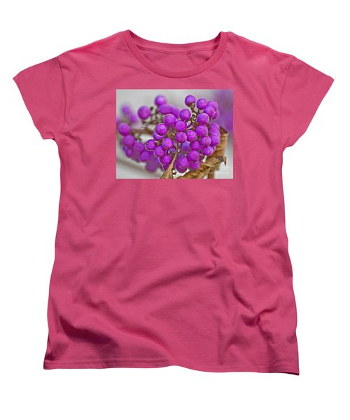 Women's T-Shirt (Standard Cut) featuring the photograph Macro Of Purple Beautyberries Callicarpa Plant Art Prints by Valerie Garner