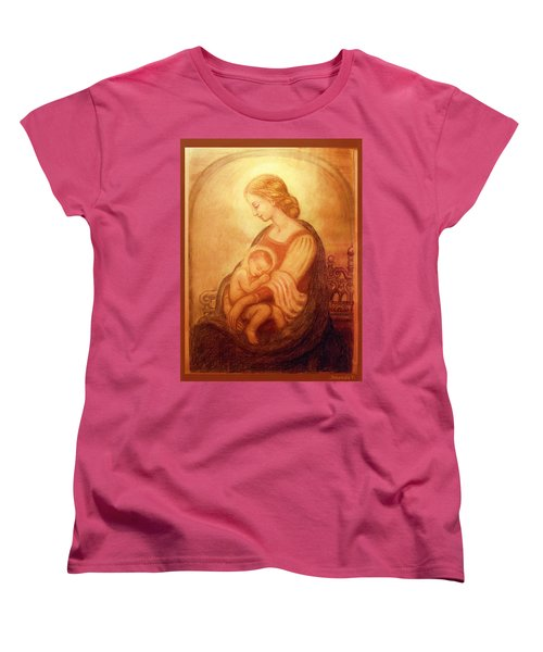 Women's T-Shirt (Standard Cut) featuring the mixed media Madonna With The Sleeping Child by Ananda Vdovic