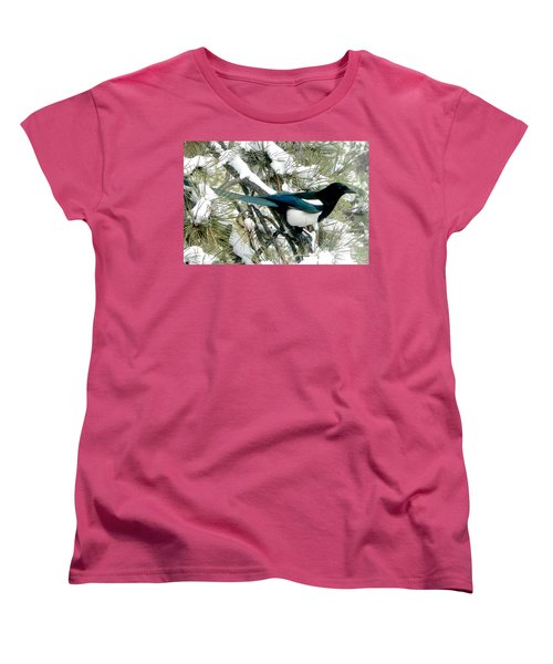 Magpie In The Snow Women's T-Shirt (Standard Cut) by Marilyn Burton