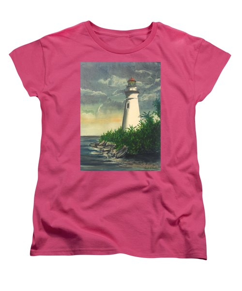 Marblehead Light On Lake Erie Women's T-Shirt (Standard Cut) by Frank Hunter