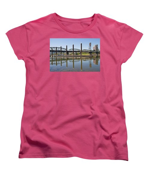 Women's T-Shirt (Standard Cut) featuring the photograph Marina By Willamette River In Portland Oregon by JPLDesigns