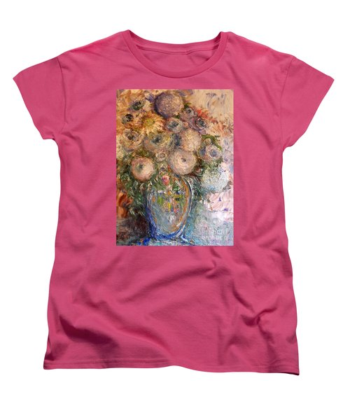 Women's T-Shirt (Standard Cut) featuring the painting Marshmallow Flowers by Laurie L